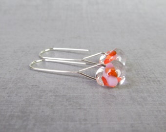 Long Dangle Earrings Mottled Coral, Pink Orange Lampwork Earrings, Coral Earrings, Glass Dangles, Sterling Silver Wire Minimalist Earrings