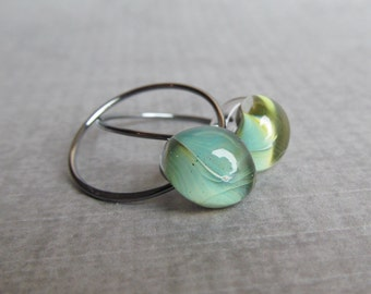 Everyday Green Earrings, Small Hoop Earrings, Sterling Silver Wire Earrings, Green Hoops, Lampwork Earrings