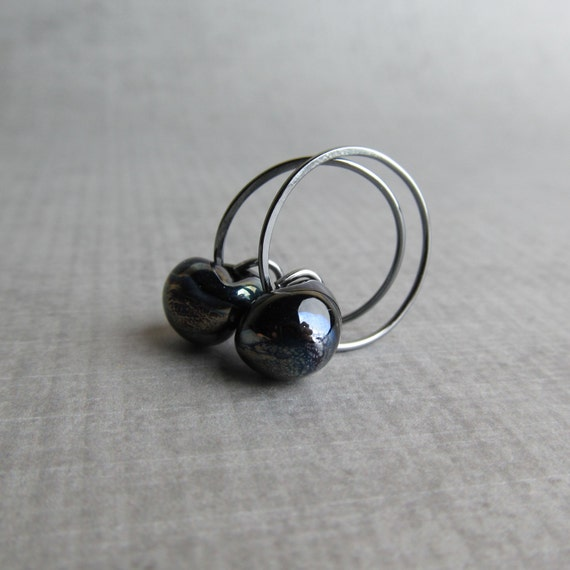 small black hoop earrings for or from gioiellijewelry black swirl hoops small black hoop earrings