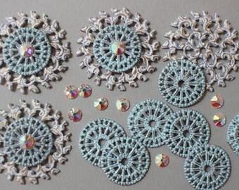 Enameled Round Filigrees AB Swarovski Crystal - Shabby Chic