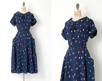 vintage 1950s dress / blue polka dot print 50s dress / Candy Coated