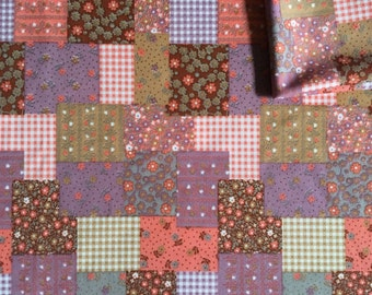 Vintage Fabric 70's Polyester, Patchwork, Brown, Orange, Floral, Material, Textiles