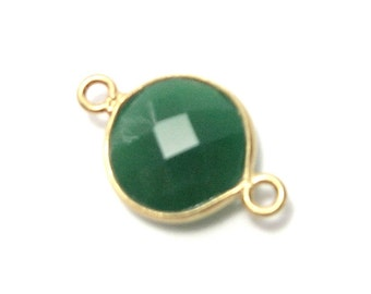 Green Onyx Faceted Coin Link in Gold Vermeil