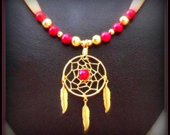 Dream catcher necklace, pink red dreamcatcher necklace, Native American made, Southwestern, Boho, Native American, beaded necklace