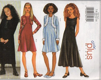 "Butterick 3321 ""Girls' Jacket and Dress"" Size 7,8,10,12,14"