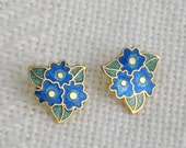 Stud Earrings Champleve Enamel Flowers and Leaves Vintage 80s Costume Jewelry
