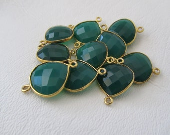 Green Agate Faceted Pear Shaped Connector Link Gold Plated