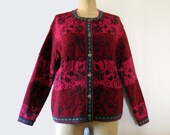 Womens Vintage Wool  Ski Sweater Nordic Fair Isle  Style  Cardigan Slouchy Hipster Petite Large Raspberry Wine Blue Green Floral Flower
