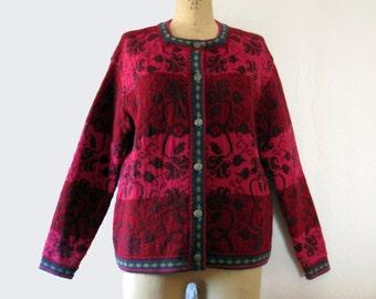 Womens Vintage Wool  Ski Sweater Nordic Fair Isle  Style  Cardigan Slouchy Hipster Petite Large Raspberry Wine Blue Green Floral Flower