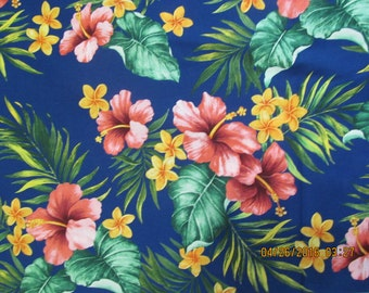 Hawaiian Quilting Fabric Blue with Coral Hibiscus from Marianne of Maui