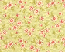 Farmhouse by Fig Tree & Co .. Blossom in Meadow ... Moda fabrics 20255 17 ...  red, green, cream, coral