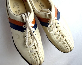 Super Cool 1970s Striped Cream Leather Bowling Shoes, by Striker, Women's