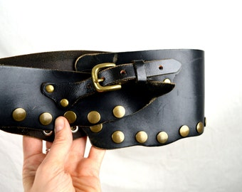 WOW Wide Vintage Studded Black Belt - Made in Japan