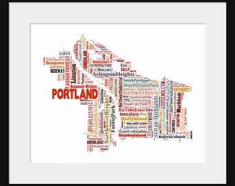 Portland Oregon Color Map Typography Map Poster Print 2