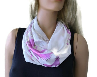Silver and pink on white -chiffon  Infinity scarf  cowl - Necklace scarf -Tube version