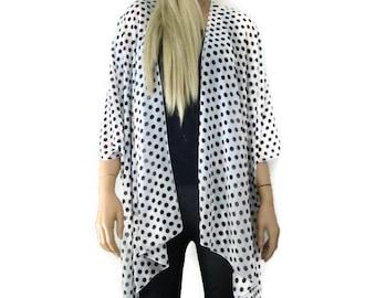 Kimono cardigan - White and black polka dot chiffon Kimono-Lagenlook kimono-Gift idea