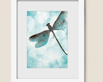 5 x 7  Brown and Blue Wall Art Dragonfly Print, Watercolor Dragonfly Wall Art, Blue Brown Wall Decor, Dragonfly Art (235)