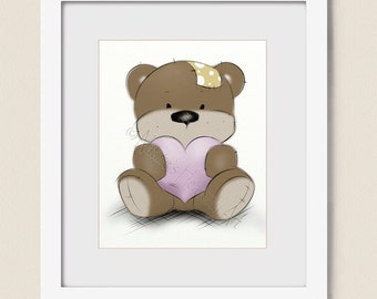 8 x 10 Pink Nursery Decor, Pink Baby Girls Wall Art, Teddy Bear Print, Girls Nursery Art, Pink and Brown, Childrens Wall Art  (445)