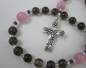 Smoky Quartz and Rose Cat's Eye Prayer Beads