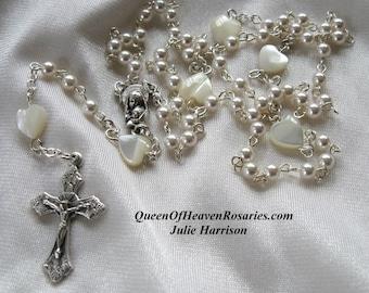 Tiny Swarovski Pearl Wedding Rosary, Baptism Rosary, Mother's Day Rosary