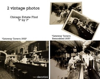 """The Gateway Tavern 1933 and 1935. Two B/W Photos. Chicago Post Prohibition Era Photos. Bartenders and Customers. 5"""" by 7"""" Professional Pics"""