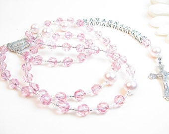 Girl's Rosary // Girl's Name Rosary // Pink Rosary // Child Rosary // First Communion Rosary // Personalized Rosary // Confirmation Rosary