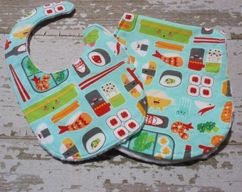 Ready to Ship-The Couture Mama Gift Set-  burp cloth and bib in sushi roll