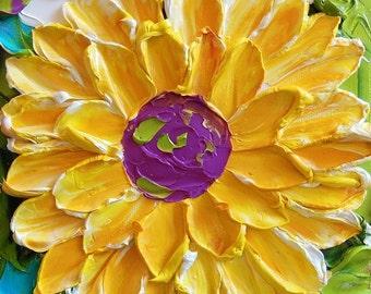 Oil Painting Sunflower Original Small oil painting Impasto Flowers PAINTING Original Art