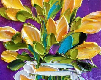 Oil Painting yellow Tulips Impasto Painting  Home Decor , home and living , wall decor