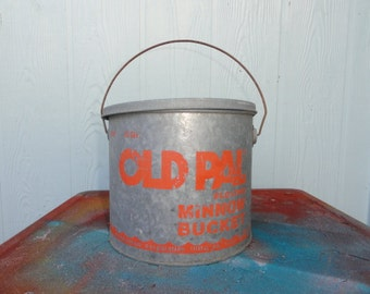 Vintage Rustic Bucket Minnow Pail Camp Metal Galvanized Fishing Bait