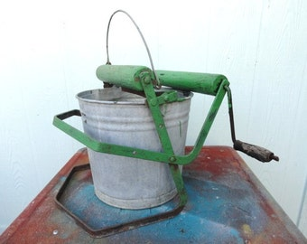 Industrial Bucket Galvanized Vintage Mop Pail Green Worn Wood