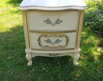 French Bedside Table Vintage Poppy Cottage Custom PAINT to ORDER Painted Furniture