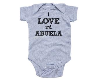 Apericots I Love Mi Abuela Spanish My Grandma Cute Short Sleeve Baby Bodysuit