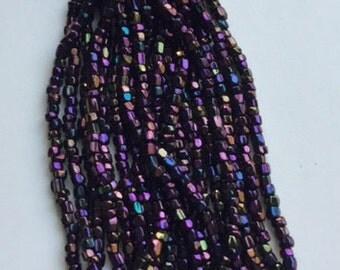 Vintage Czech Cut Glass Beads - Purple Iris