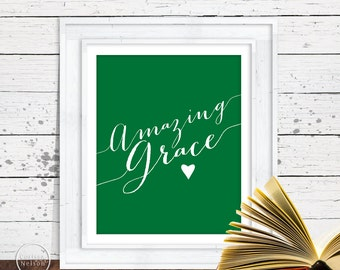 Amazing Grace Emerald Christian Art - 8x10 Wall Art Instant Printable