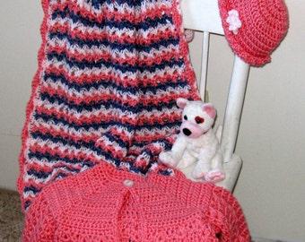 Travel Blanket, Baby Stroller Blanket, Sweater, Hat, Baby Gift Set, Crochet, Denim Blue, Coral, Pink Handmade by NormasTreasures