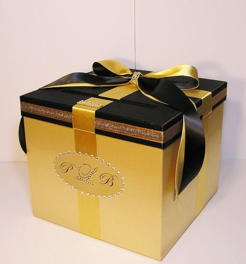 Gift Box Gold : Wedding card box gold and black gift money