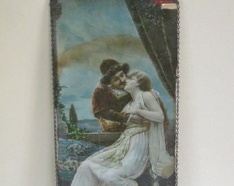 Vintage Romeo and Juliet Late 1800s Romantic Print Under Glass, Man and Woman almost kissing, Lovers, chain framed Wall Art