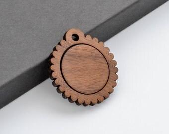 "1"" Embroidery Hoop Scalloped Edge Pendants Small 25mm Laser Cut from Walnut Wood EHPSC-25-W"