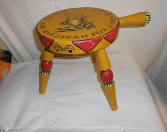 3 Legged Wood Milk Stool  Coffee Theme Authentic Furniture Product
