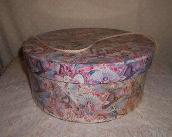 Round  Hat Box Cherubs Cupid decor storage