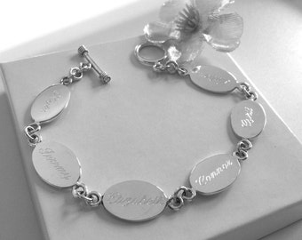 Personalized Sterling Silver Oval Family Bracelet, Engraved Family Bracelet, Mother's Bracelet, Grandma Bracelet, Grandchildren Bracelet