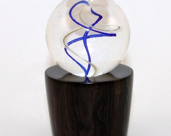 Hand turned Marble Holder..or.. stand--with a display light-- ))) AFRICAN BLACK WOOD (( Lamp Work ((  MS87