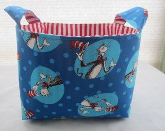 Fabric Organizer Basket Storage Bin Container - Dr Seuss - Cat in the Hat Circles