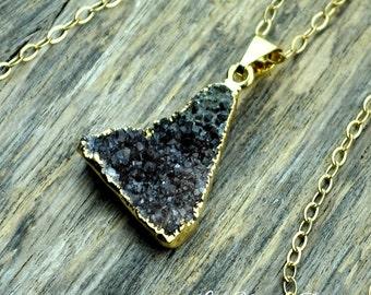Brown Druzy Necklace, Brown Druzy Pendant, Druzy Jewelry, Brown Druzy Stone, Gold Nekcalce, Druzy, Natural Druzy, 14k Gold Fill Chain
