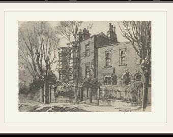 House of John Constable, 2 Lower Terrace, Hampstead, London, Vintage Print 49, 1946, Wartime Britain, Wartime Art, World War 2