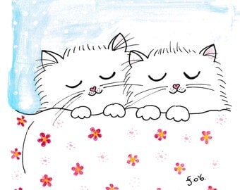 Sleepy Kittens - Original Watercolour, Pen and Ink Drawing - Made in Ireland