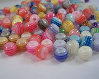 FREE SHIPPING - 197 pcs. Mixed Multicolor Striped Acrylic Beads (#1334)