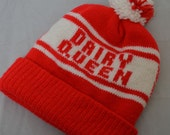 Vintage DAIRY QUEEN Logo 80's Knit Winter Stocking Hat Pom Ski Cap Ice Cream Restaurant