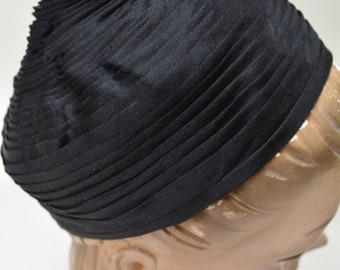 60s hat saks fifth avenue black silk pleated turban pillbox beanie